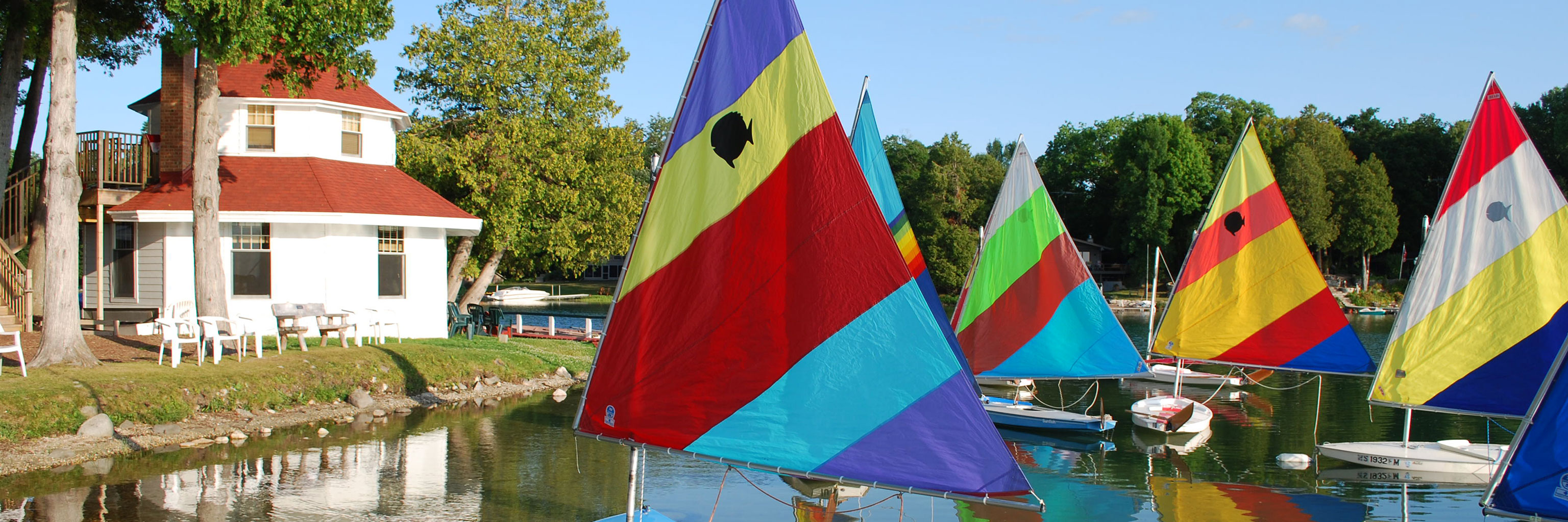 lake view with sailboats
